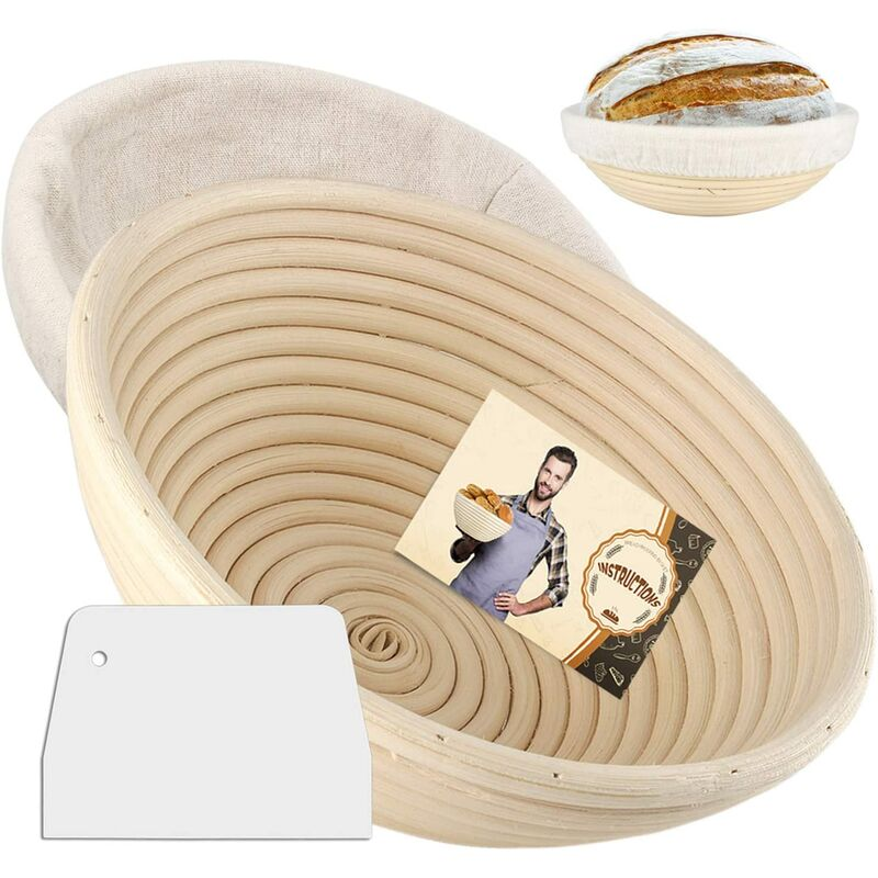 Image of Cestino rotondo semlos Proof, cestino per il pane da 10 ', cestino per il pane, cestini da forno Banneton con rivestimento in lino, raschietto per