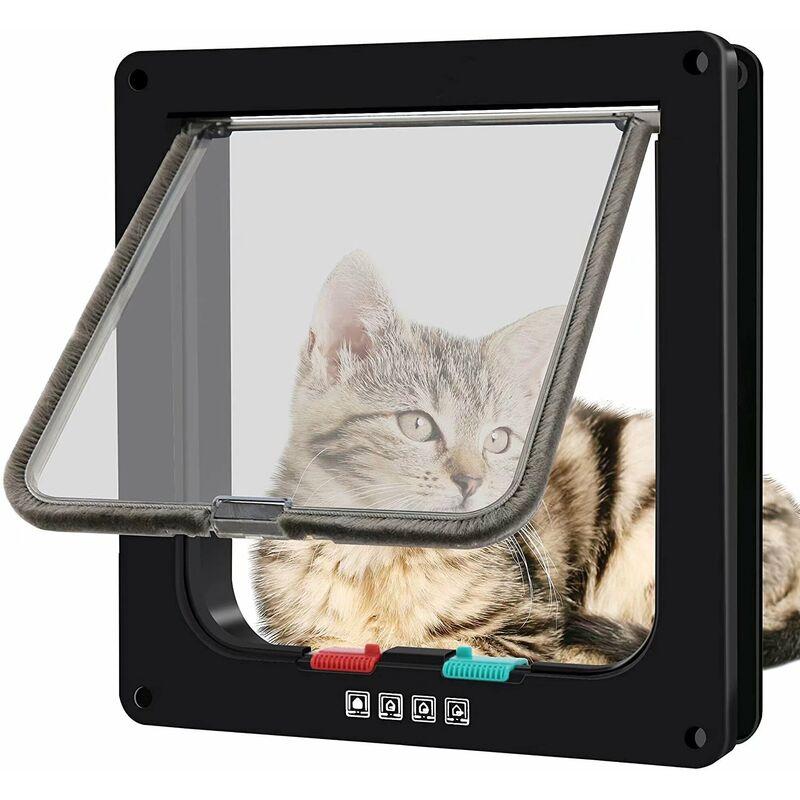 Chatière magnétique avec porte battante et serrure à 4 voies pour chats, chatons et chiots (L, noir, 25. * 23,5 * 5,3 cm) - Litzee