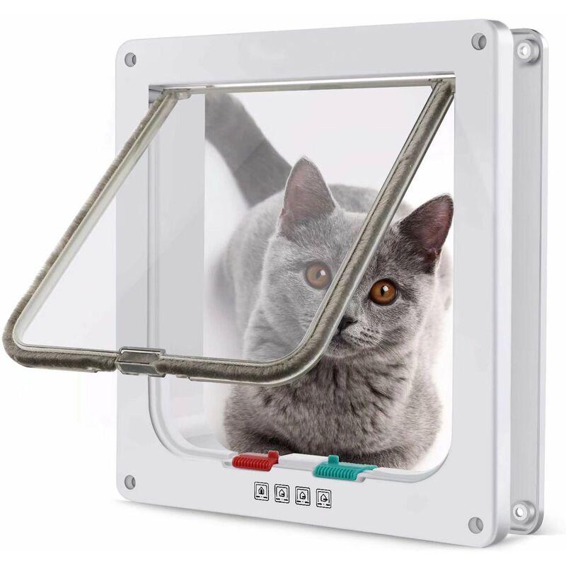 Chatière magnétique avec porte battante et serrure à 4 positions pour chats, chatons et chiots (M, blanc, 19,7 * 19,5,3 cm) - Litzee