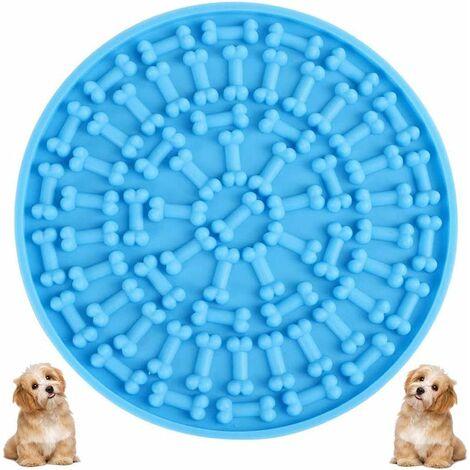 LITZEE Cojín de baño para perros lamiendo - Alfombrilla de silicona para lamer con ventosas Cojín de baño para mascotas, divertido juguete de ducha para perros (azul)