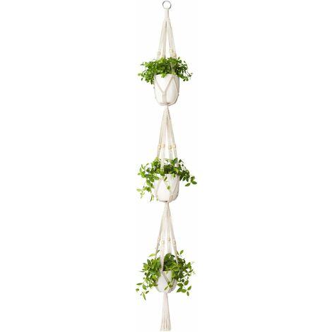 LITZEE Colgador de macramé para plantas, 3 niveles, para interiores y exteriores, cesta colgante para plantas, cuerda de algodón con cuentas de 177 cm