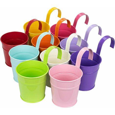 LITZEE coloré fer Pot de fleurs à suspendre Pots de fleurs balcon Jardin Plante Pot de fleurs en métal Seau Fleur Supports – 10 couleurs aléatoires