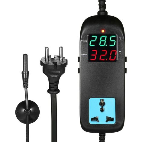 LITZEE Contrôleur de Température Numérique pour Micro-Ordinateur, Thermostat électronique 90-250V 10A, écran LCD/Thermostat avec Prise/Régulateur de Température de la Ferme, Sonde avec Ventouse