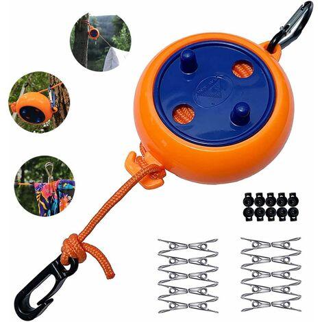 LITZEE Corde à linge - Extensible - Pour le camping - Portable - 8 m - Pour les voyages, les vacances - Pour la salle de bain, la buanderie, le jardin ou les voyages