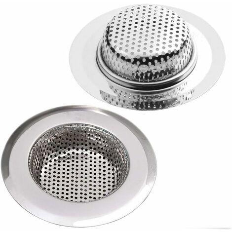 LITZEE Crépine de vidange en acier inoxydable, lot de 2, crépine de douche, évier de cuisine Ø 9CM et crépine de vidange de baignoire, 2 crépines de douche