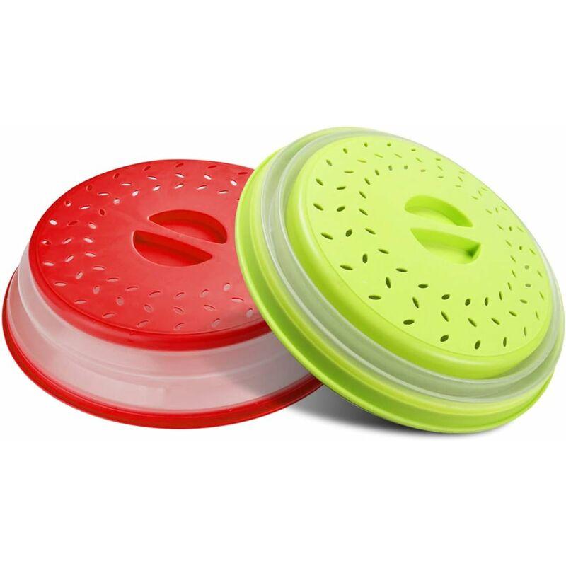 LITZEE - Cubierta de placa a prueba de salpicaduras de microondas plegable con ventilación con mango de fácil agarre, tapa a prueba de derrames de