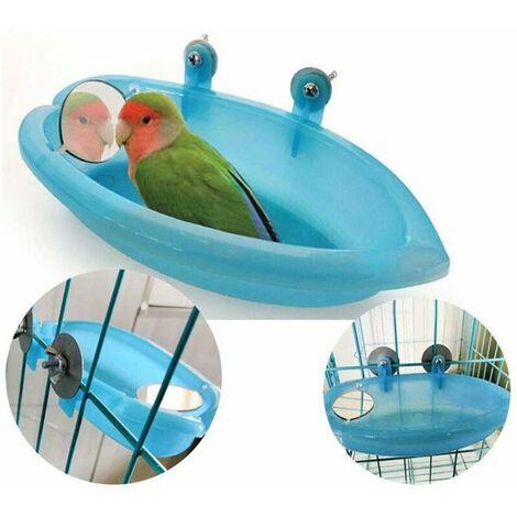 LITZEE cuenco de baño para pájaros, cuenco colgante, juguete para baño de pájaros, loro para mascotas, periquito, periquito, cacatúa, jaula, alimentador de ducha con espejo