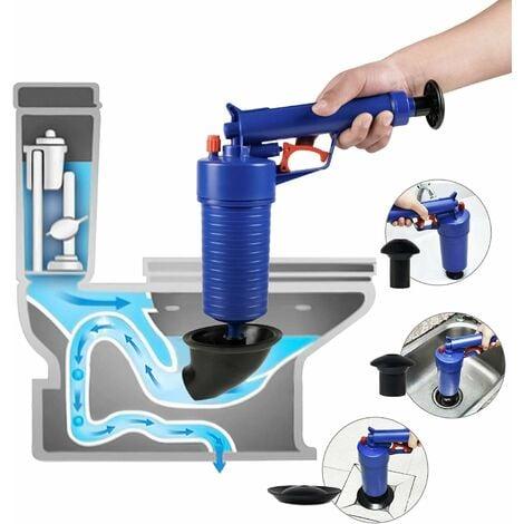 LITZEE Déboucheur de toilettes avec pompe à pression, piston haute pression pour baignoire/toilettes/évier/sol