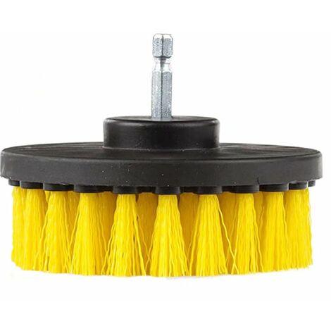 LITZEE Detalle de 4 pulgadas de diámetro del cepillo de nailon giratorio con cambio rápido de eje de un cuarto de pulgada amarillo
