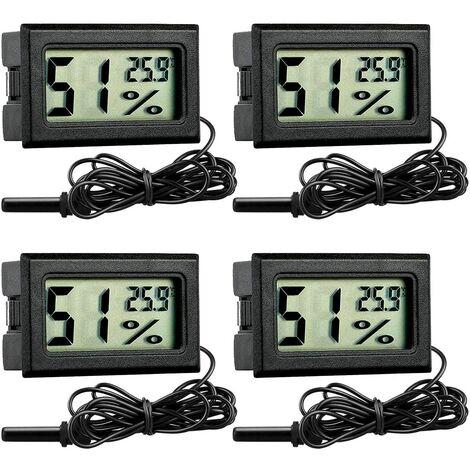 LITZEE Digital LCD Thermomètre Hygromètre pour Aquarium, 4 Pièces, Moniteur de Température avec Sonde pour Aquarium, Reptiles, Volaille Incubateur