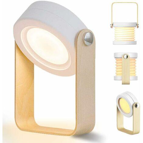 LITZEE Dimmbare Touch LED Nachttischlampe Vintage Schreibtischlampe mit Holzgriff 3 Helligkeitsstufen Tischlampe