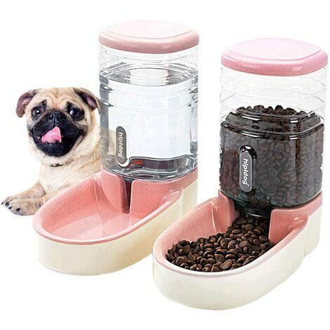 LITZEE Distributeur automatique pour animaux de petite et moyenne taille Ensemble d'alimentation et d'abreuvement automatique de 3,8 L, mangeoire de voyage et distributeur d'eau pour chiens, chats, animaux domestiques et animaux Rose