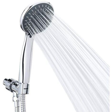 LITZEE Douchette jets de massage Spa Pommeau de douche à main Chrome Face amovible avec long flexible et support réglable