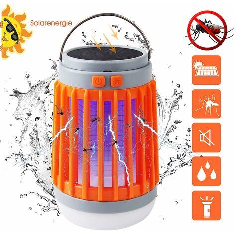 LITZEE Eclairage d'extérieur - Moustiquaire Anti-Mouches 3 en 1 Lampe de Camping Anti-moustiques - Orange
