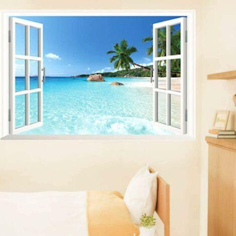 LITZEE Énorme 90X60 Cm Amovible Plage Mer 3D Fenêtre Paysage Paysage Stickers Muraux Stickers Décoratifs Pour Salon Et Chambre