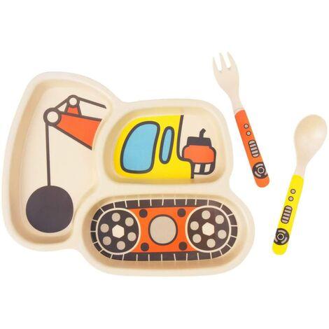 LITZEE Ensemble d'assiettes pour enfants Assiettes en bambou pour tout-petits Vaisselle Ensemble de vaisselle pour bébé Assiette divisée anti-éclaboussures pour bébé - Cuillère et fourchette pour bébé Ensemble de 3 pièces, Ball Mchine
