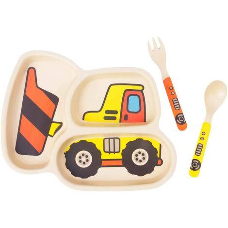 LITZEE Ensemble d'assiettes pour enfants Assiettes en bambou pour tout-petits Vaisselle Ensemble de vaisselle pour bébé Assiette divisée anti-éclaboussures pour bébé - Cuillère et fourchette pour bébé Ensemble de 3 pièces Bulldozer