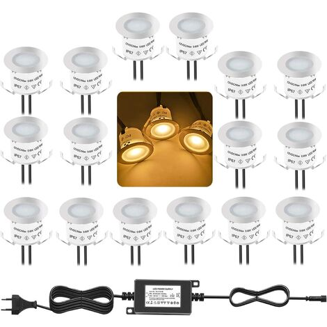 LITZEE Ensemble de 16 lumières encastrées pour terrasse, 3000K blanc chaud 12V étanche IP67, éclairage LED dans le sol pour escaliers de piscine, marche, sol, salle de bain, jardin, patio et paysage, intérieur et extérieur