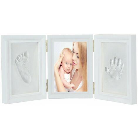 LITZEE Ensemble de cadre photo d'empreinte de main de bébé blanc, test de jouet EN71 Passe-test non toxique pour enfant, cadeau (blanc)