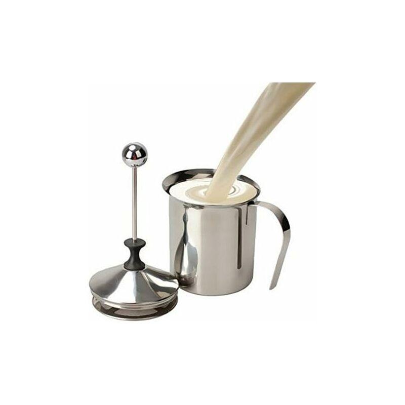 LITZEE - Espumador de leche de acero inoxidable de 400 ml / Espumador de leche Cappuccino Espuma de café con doble bomba W