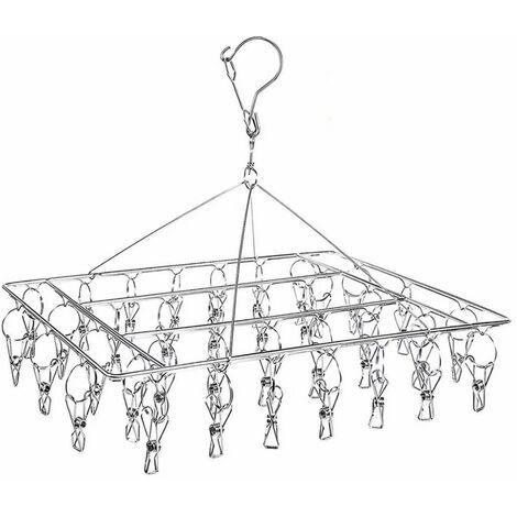 LITZEE Etendoir Chaussette, Étendoir à Linge à Suspendre avec 36 Pinces en Acier Inoxydable à l'épreuve du Vent pour Chaussettes,sous-vêtements,vêtements,Serviettes (1 Pack Hanger)