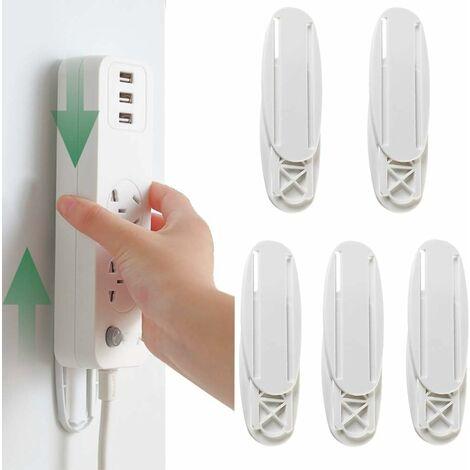 LITZEE Fixateur de Bande de Puissance Auto-Adhésive Support mural pour Power Strip Fixation de Multiprise pour Organiser Mur/Bureau, Routeur Power Strip/WiFi et Télécommande 5 Pièces