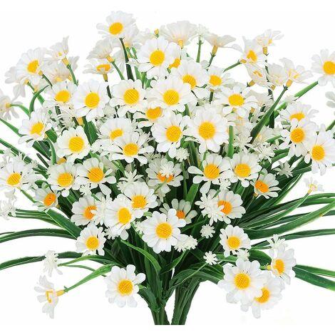 LITZEE Flores artificiales de margarita, 4 piezas de flores artificiales, arbustos de plástico verde, flores falsas, flores artificiales para interiores y exteriores (blanco)