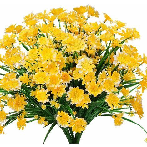 LITZEE Flores artificiales de margaritas, 4 piezas de flores artificiales, arbustos de plástico verde, flores falsas, flores artificiales para interiores y exteriores (amarillo)