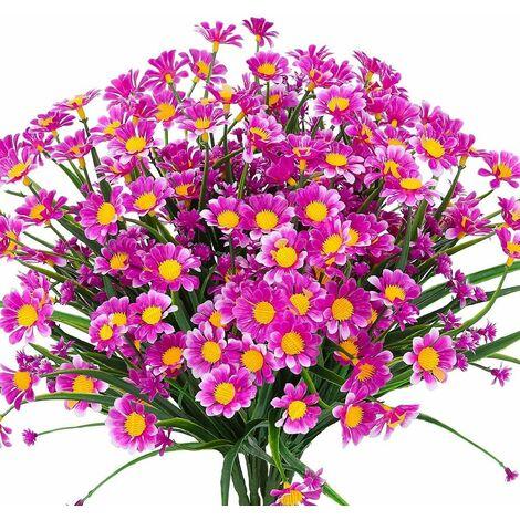 LITZEE Flores artificiales de margaritas, 4 piezas de flores artificiales, arbustos de plástico verde, flores falsas, flores artificiales para interiores y exteriores (Fushia)