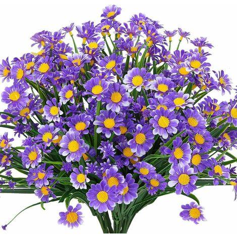 LITZEE Flores artificiales de margaritas, 4 piezas de flores artificiales, arbustos de plástico verde, flores falsas, flores artificiales para interiores y exteriores (púrpura)