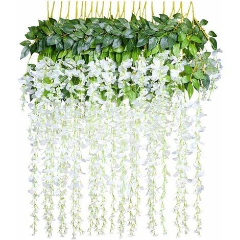 LITZEE Flores artificiales, glicinas artificiales, decoración del hogar, cada hebra mide 110 cm de largo, hecha de seda (blanco)