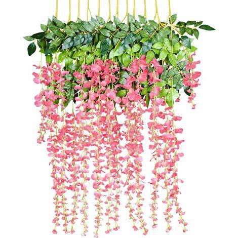 LITZEE Flores artificiales, glicinas artificiales, decoración del hogar, cada hebra mide 110 cm de largo, hecha de seda (rosa)