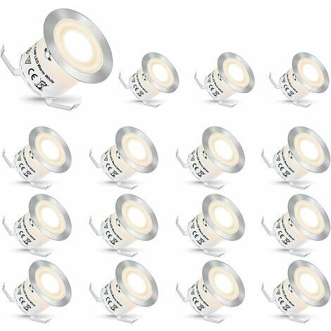 LITZEE Foco empotrable LED, Focos empotrables LED Focos empotrables para exteriores Luces para escaleras Escalera de jardín Luz de patio, IP67 Impermeable (Blanco natural, 16 piezas)