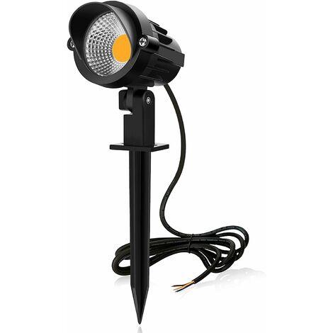 LITZEE Foco LED 7W 850LM 220V Lámpara LED con pincho COB IP66, Luces blancas frías Foco led exterior 6000K ideal para balcón, jardín, césped y terraza [Clase energética A +]