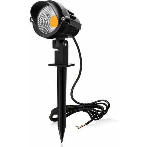LITZEE Foco LED para jardín con Spike COB 230v Lámpara LED para jardín para caminos proyector exterior luz blanca cálida 3000K versátil para caminos, caminos, entradas de vehículos, balcones, terrazas [Clase energética A +]