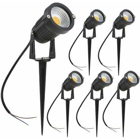 LITZEE Focos LED para exteriores, 3 W, luces blancas cálidas para jardín, 3000 K 1440LM con pincho, focos de luz LED para exteriores IP65 a prueba de agua para jardín, camino, terraza [Clase energética A +] - 6 piezas
