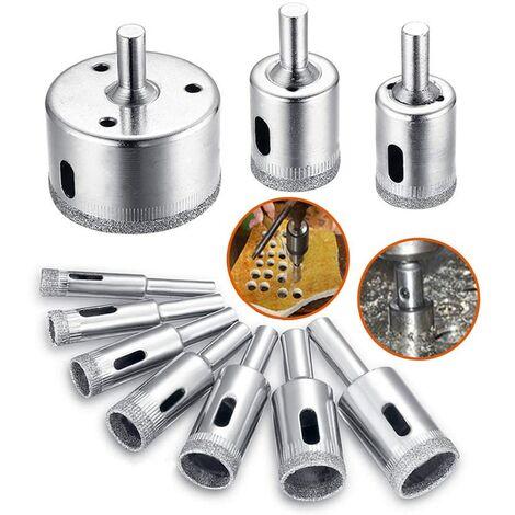 LITZEE Foret Diamant 10 pièces(6-50mm), AHS02C Scies Cloche, Matériel Foret d'Acier au Carbone pour Verre, Céramique, Porcelaine, Marbre, Carrelage et Granite