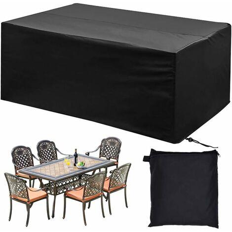 LITZEE Funda para muebles de jardín, funda para mesa de jardín 210D poliéster Funda impermeable para muebles de exterior anti-UV Funda protectora para mesas de jardín, sillas, canapé (200 * 160 * 70cm)