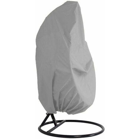 LITZEE funda para muebles de jardín - jardín de mimbre de mimbre impermeable funda para muebles de silla colgante - funda protectora para silla de huevos - funda de acolchado de PVC de poliéster Oxford 210D - gris