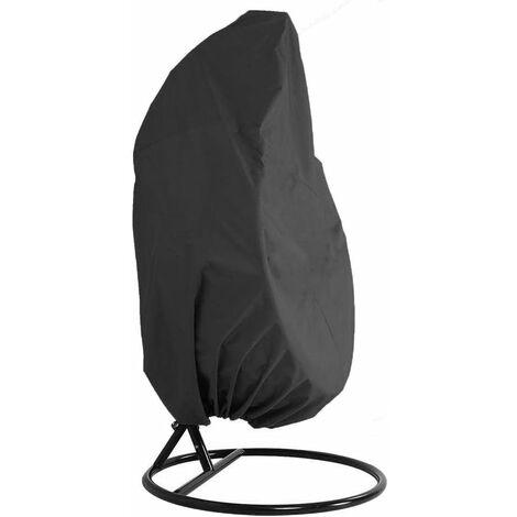 LITZEE funda para muebles de jardín - jardín de mimbre de mimbre impermeable funda para muebles de silla colgante - funda protectora para silla de huevos - funda de acolchado de PVC de poliéster Oxford 210D - negro