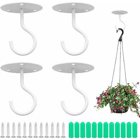 LITZEE Gancho de techo de 4 piezas de metal para pared, para plantas, con tornillos y anclajes para colgar cestas de plantas, linternas, campanas de viento, decoraciones para exteriores (blanco)