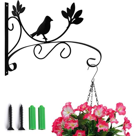 """main image of """"LITZEE Ganchos de pared de hierro para plantas, ganchos para plantas colgantes, soporte de pared Soporte para plantas colgante Soporte decorativo para plantas para colgar en la pared, para macetas, linternas, campanas de viento (pájaros) (sin cesta colgan"""""""