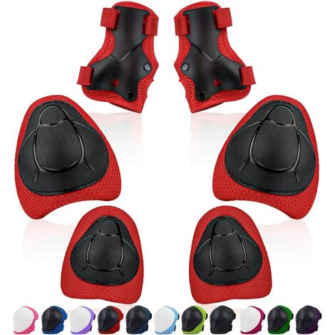 LITZEE Ginocchiere per bambini, set di protezione per bambini Ginocchiere Gomitiere Protezioni per polsi Misura regolabile Equipaggiamento protettivo 6 pezzi per pattini a rotelle Skateboard Roller Scooter Rosso