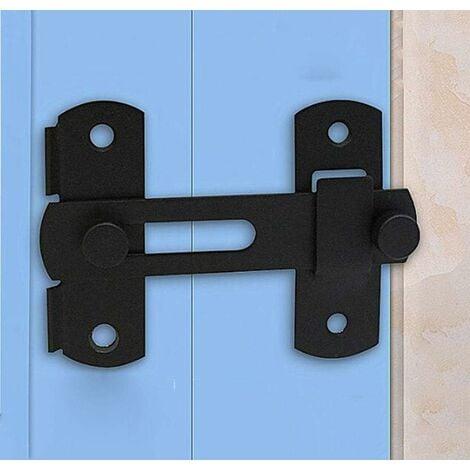 LITZEE Grange porte coulissante serrure antique loquet de porte armoire à vin armoire murale en acier inoxydable boulon de porte hangar serrure de porte coulissante (Noir mat 1 pièce)