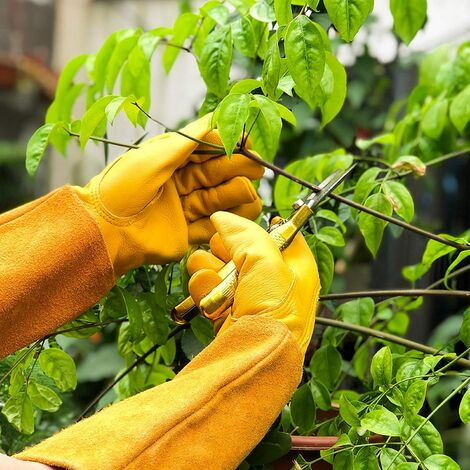 LITZEE Guantes de jardinería de cuero transpirable para hombres y mujeres con guante anti-espinas, cuero de vaca de manga larga para jardinero y granjero, amarillo L
