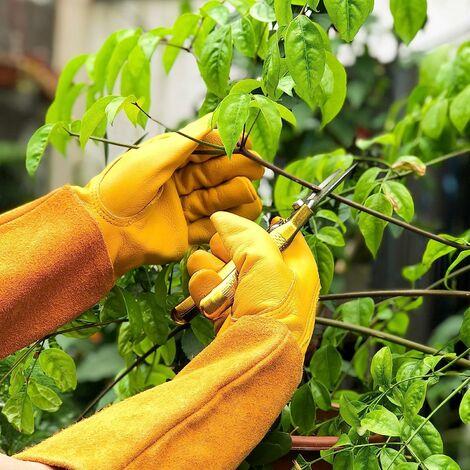 LITZEE Guantes de jardinería de cuero transpirable para hombres y mujeres con guante anti-espinas, cuero de vaca de manga larga para jardinero y granjero, amarillo M