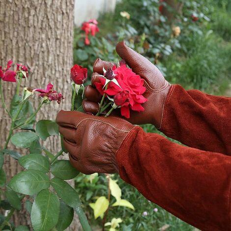 LITZEE Guantes de jardinería de cuero transpirable para hombres y mujeres con guante resistente a las espinas, cuero de vaca de manga larga para jardinero y granjero (L, marrón)