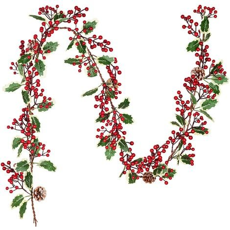 LITZEE Guirlande de baies de 2 cm décoration de houx, guirlandes de Noël pour les vacances, cheminée, escaliers, décoration de table