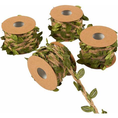 LITZEE Guirlande de feuilles - 4 rouleaux à suspendre au mur - Plantes artificielles en toile de jute - Pour mariage, maison, jungle - 5 m