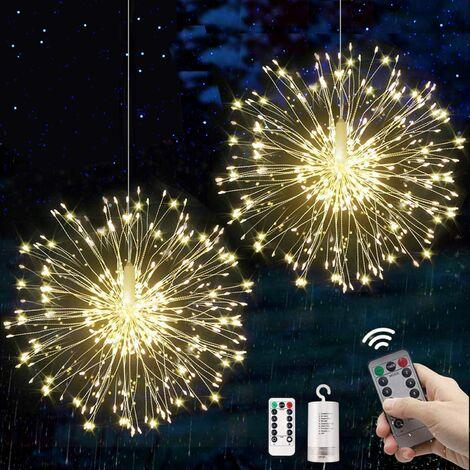 LITZEE Guirlandes Lumineuses Feux d'artifice 120 LED Starburst Guirlandes à Piles Noël Guirlandes Sapin lumineuses multicolore 8 Modes d'Eclairage avec Télécommande